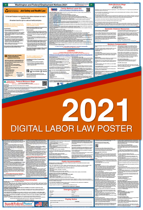 Digital Washington State and Federal Labor Law Poster 2021
