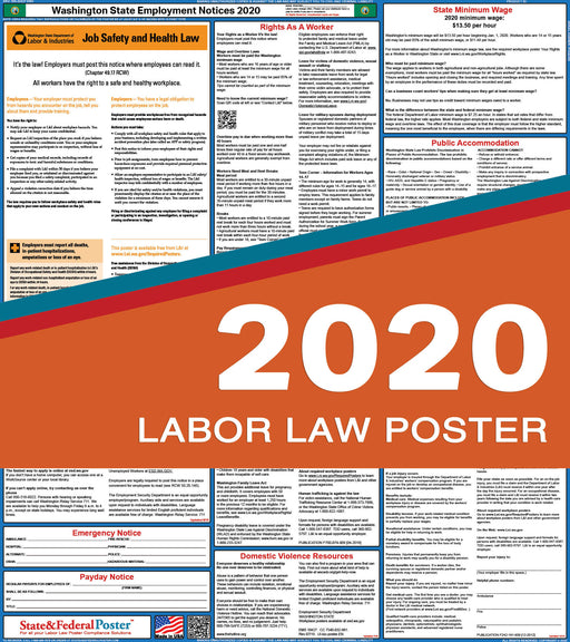 Washington State Labor Law Poster 2020 - State and Federal Poster