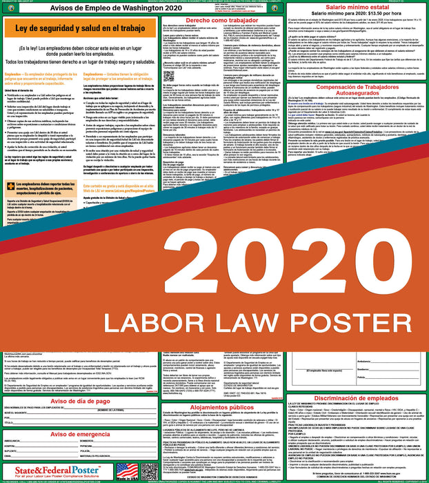 Washington State Labor Law Poster 2020 (SPANISH) - State and Federal Poster