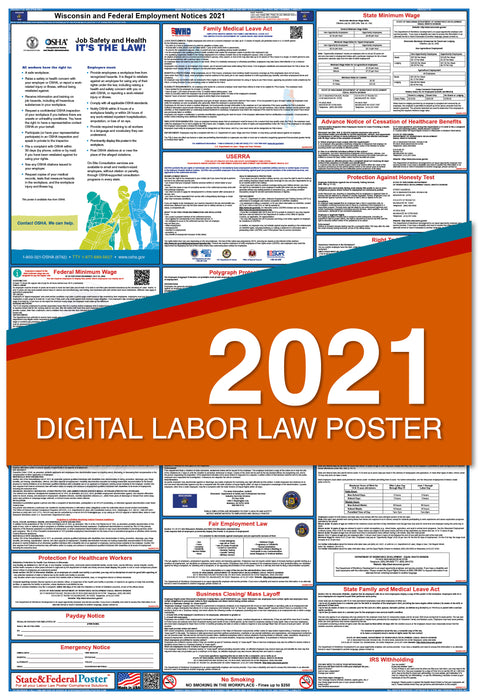 Digital Wisconsin State and Federal Labor Law Poster 2021