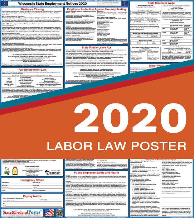 Wisconsin State Labor Law Poster 2020 - State and Federal Poster