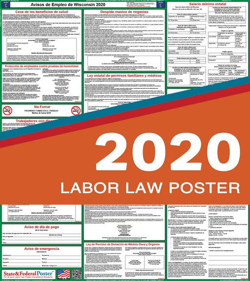 Wisconsin State Labor Law Poster 2020 (SPANISH) - State and Federal Poster