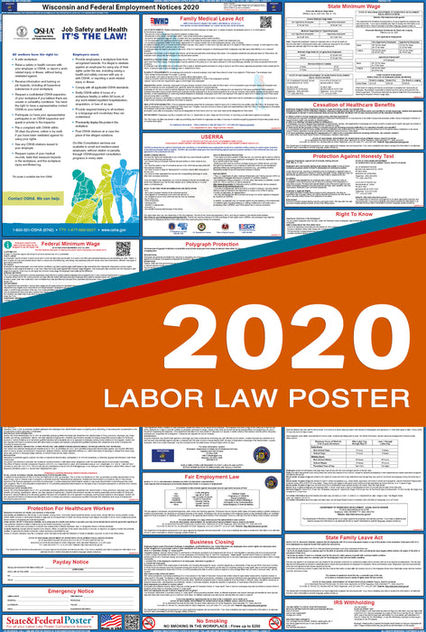 Wisconsin State and Federal Labor Law Poster 2020 - State and Federal Poster