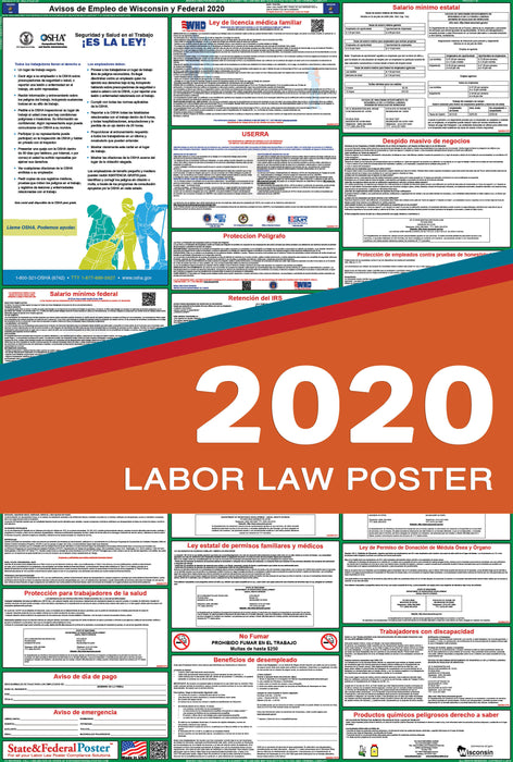 Wisconsin State and Federal Labor Law Poster 2020 (SPANISH) - State and Federal Poster