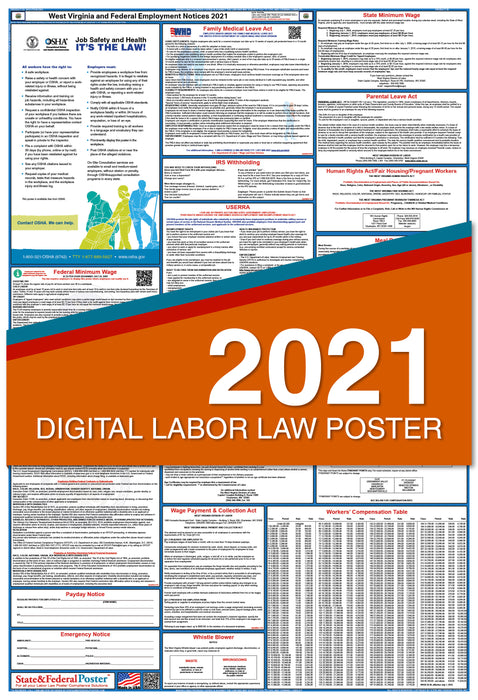 PREORDER - West Virginia State and Federal Labor Law Poster 2021