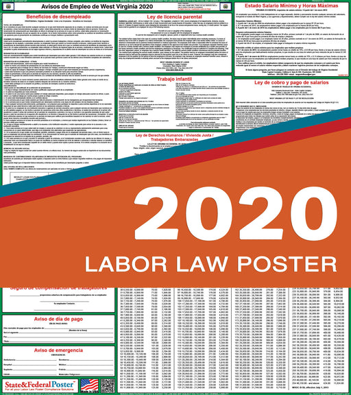 West Virginia State Labor Law Poster 2020 (SPANISH) - State and Federal Poster
