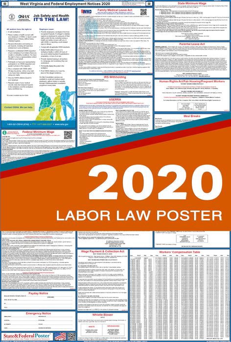 West Virginia State and Federal Labor Law Poster 2020 - State and Federal Poster