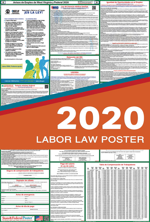 West Virginia State and Federal Labor Law Poster 2020 (SPANISH) - State and Federal Poster
