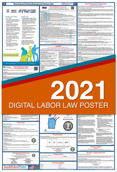 Digital Wyoming State and Federal Labor Law Poster 2021