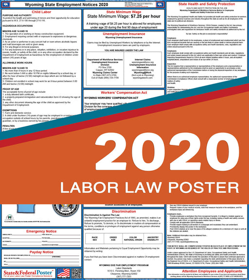 Wyoming State Labor Law Poster 2020 - State and Federal Poster