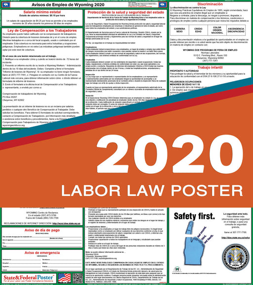 Wyoming State Labor Law Poster 2020 (SPANISH) - State and Federal Poster