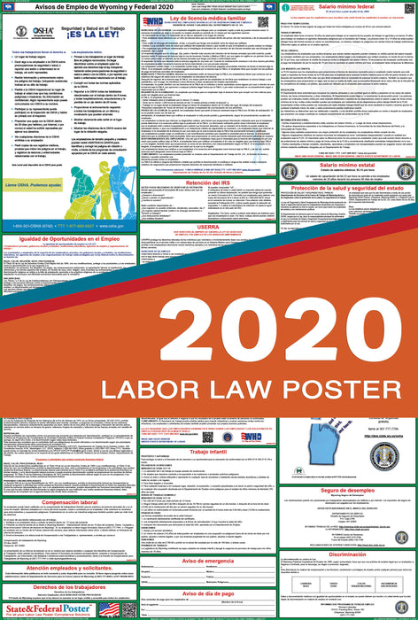 Wyoming State and Federal Labor Law Poster 2020 (SPANISH) - State and Federal Poster