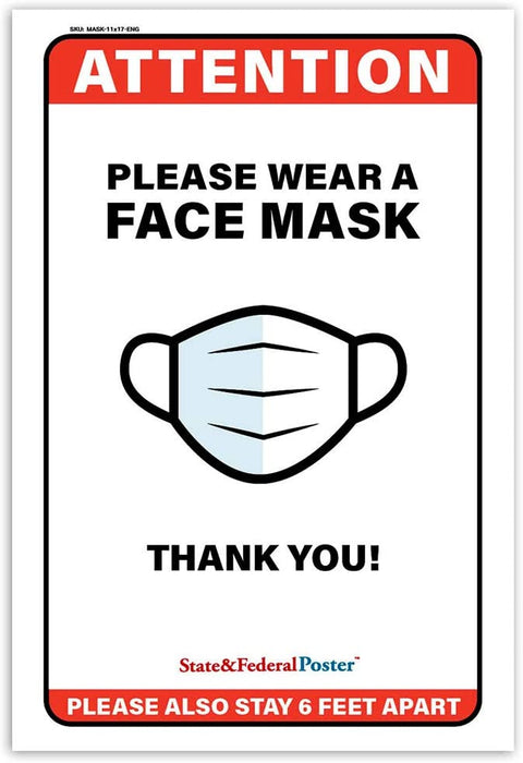 """Please Wear Face Mask"" Laminated Poster Sign"