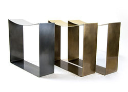 Gentner Darkened Steel/Brass Ribbon Stool