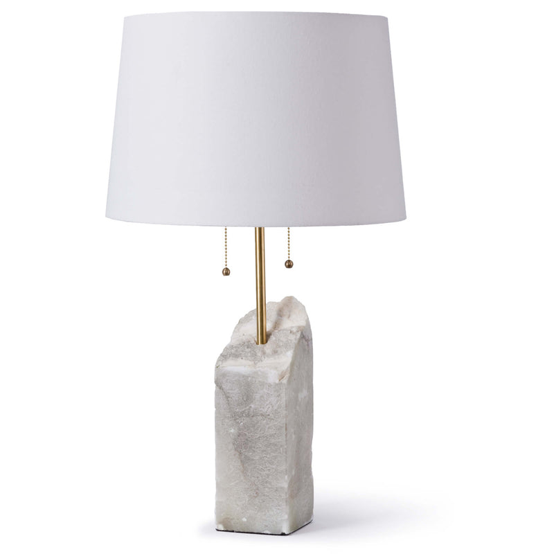 Square Raw Alabaster Table Lamp