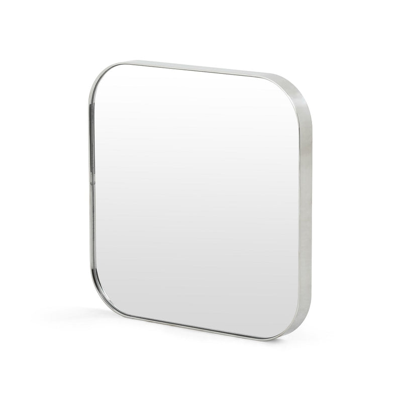 Modern Square Mirror in Brass or Shiny Silver