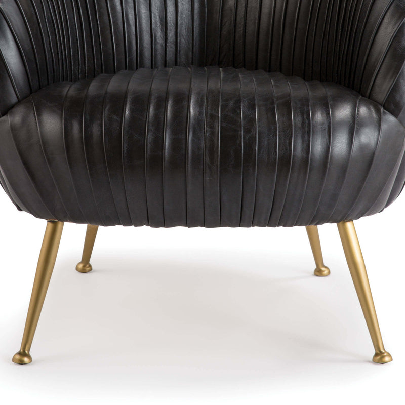 Hollywood Leather Occasional Chair in Modern Black