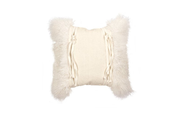 "Alicia 22""x22"" Mongolian Lambswool Decorative Pillow"
