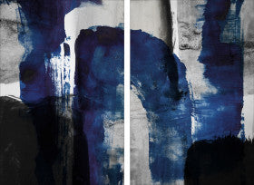 "Blue Abstract Plexi Print Set of Two 48"" x 72"""