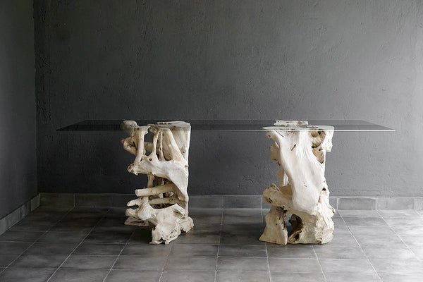 Set of Bleached Teak Root Pedestals