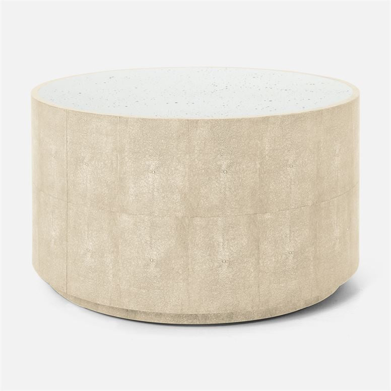 Cara Round Faux Shagreen Cocktail Table
