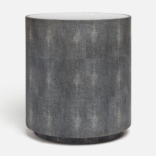 Cara Round Faux Shagreen Drum Side Table with Antiqued Mirrored Top