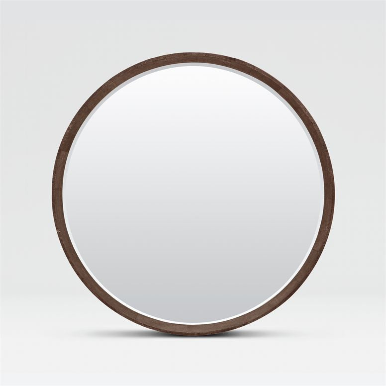 Emma Round Cool Grey Faux Shagreen Mirror
