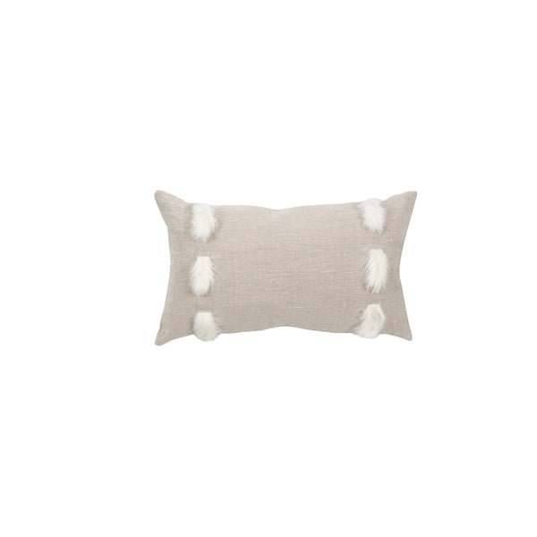"Gigi 12""x20"" Taupe Linen and Fur Adorned Decorative Pillow"
