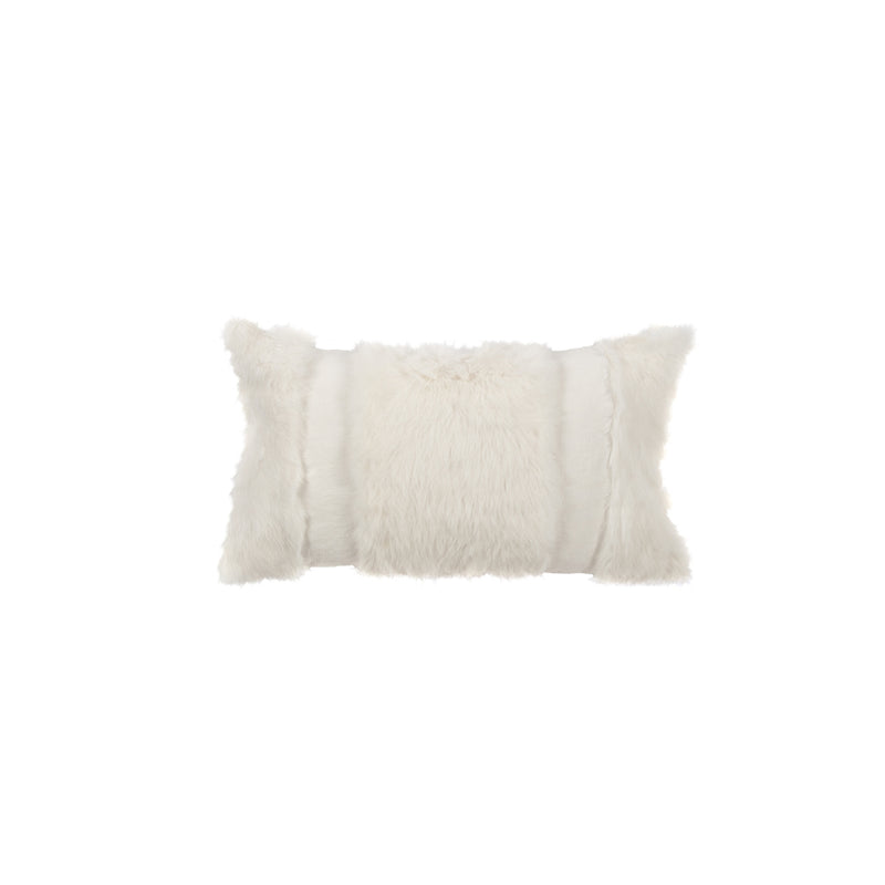 "Gigi 12""x 20"" Oyster Linen and Fur Striped Decorative Pillow"