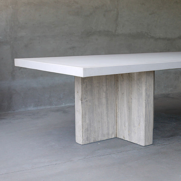 "Rectangular CONCRETE table with RECLAIMED ELM ""T"" bases"