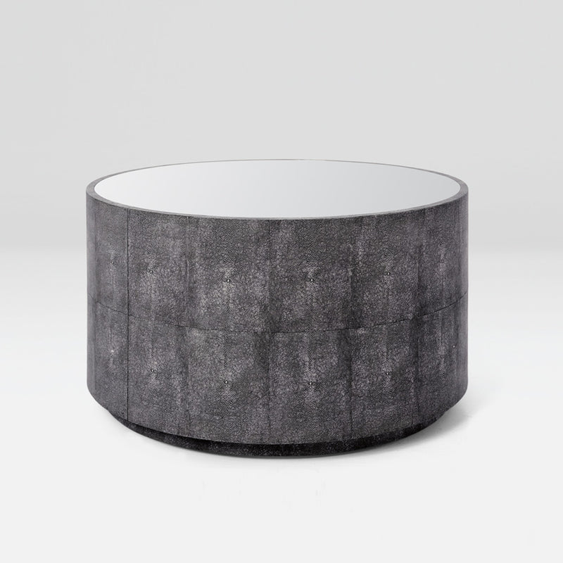 Faux Shagreen Round Cocktail Table
