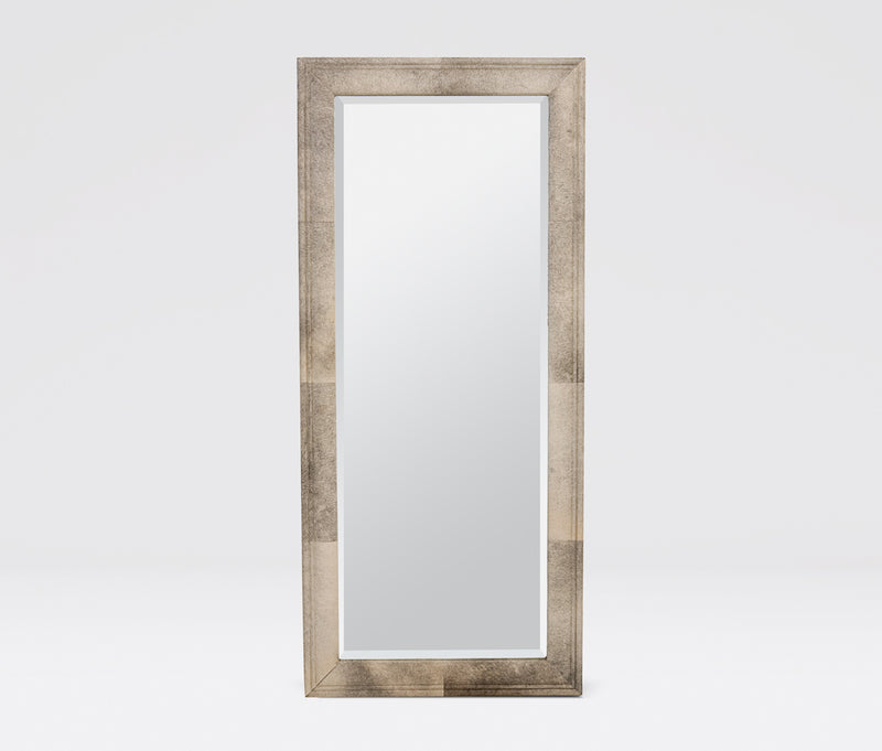 "Made Goods Charles Hide Mirror 72"" Genuine Grey Hide Wrapped Rectangular Mirror"