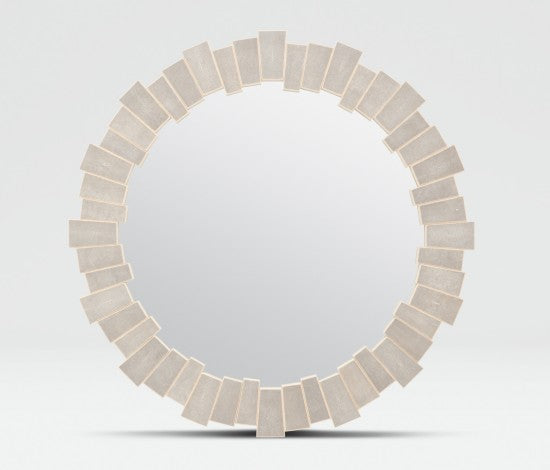 Made Goods Claude Round Mirror in Sand Faux Shagreen
