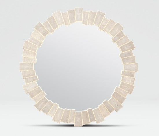 Faux Shagreen Round TrACapezoid Pieced Mirror - Sand