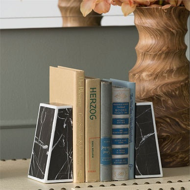 Griffen Bookends in Nero Marble
