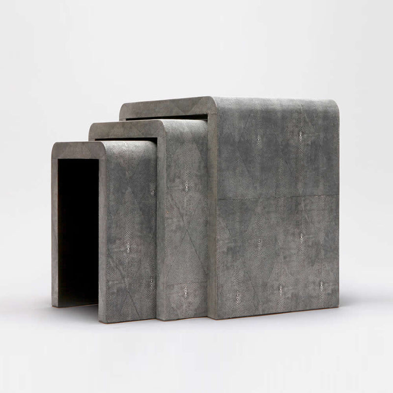 Faux Shagreen Set of 3 Nesting Tables