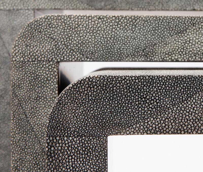 Faux Shagreen Set of 3 Nesting Tables - Grey Detail