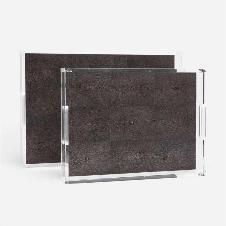 Savra Acrylic and Shagreen Tray Set of 2