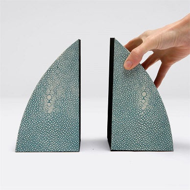 Worton Bookends in Faux Shagreen