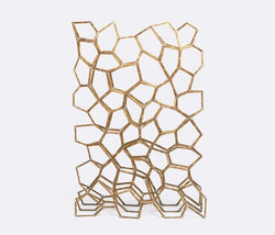 Made Goods Efrain wall divider Aged Brass Iron Wire Room Divider of Hexagonal and pentagonal shapes