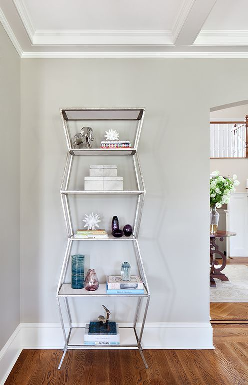 Oly Astro Shelf with Antiqued Silver Iron Base with wood shelves