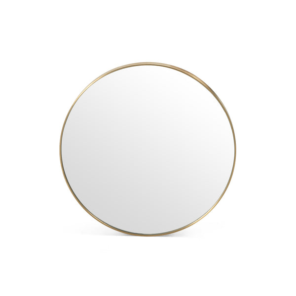 Modern Round Mirror Polished Brass or Shiny Steel