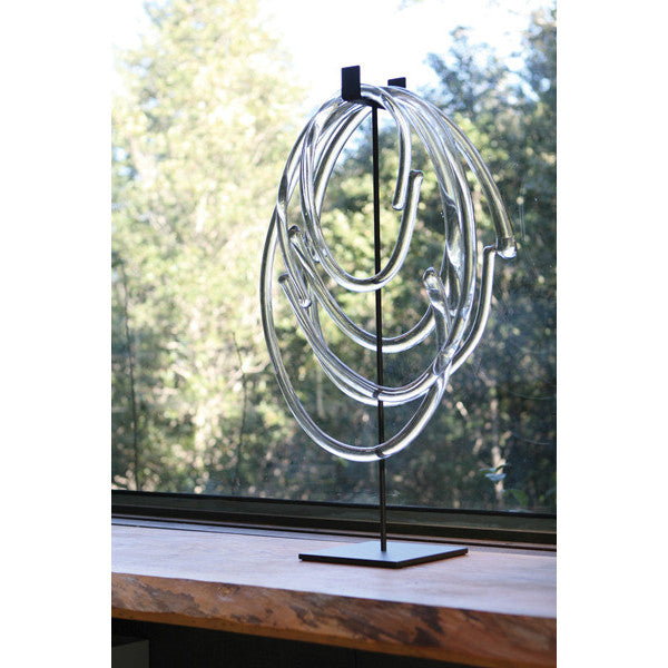 Hand blown Sklo clear glass lasso on stand