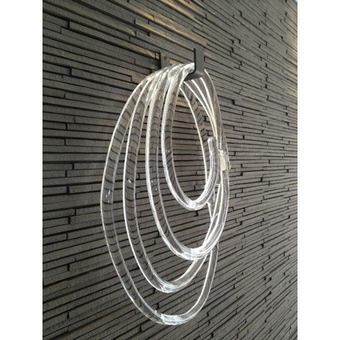 Skl o Lasso on hook object hand blown clear glass object
