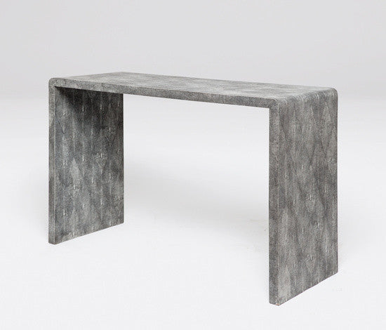 Faux Shagreen Harlow Waterfall Console - Grey