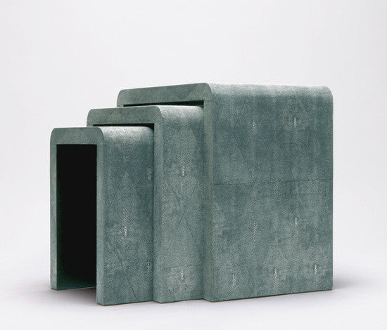 Faux Shagreen Set of 3 Nesting Tables - Turquoise