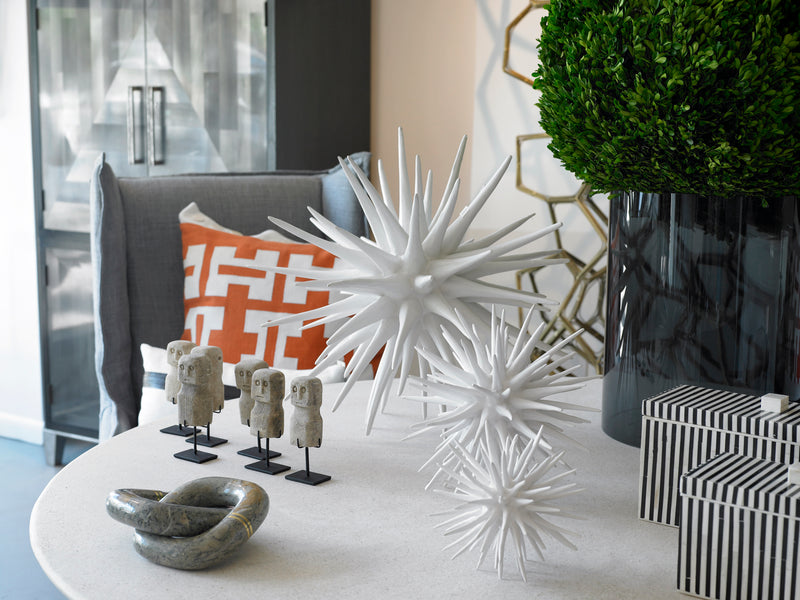 Resin Sea Urchin Sculpture Frost White