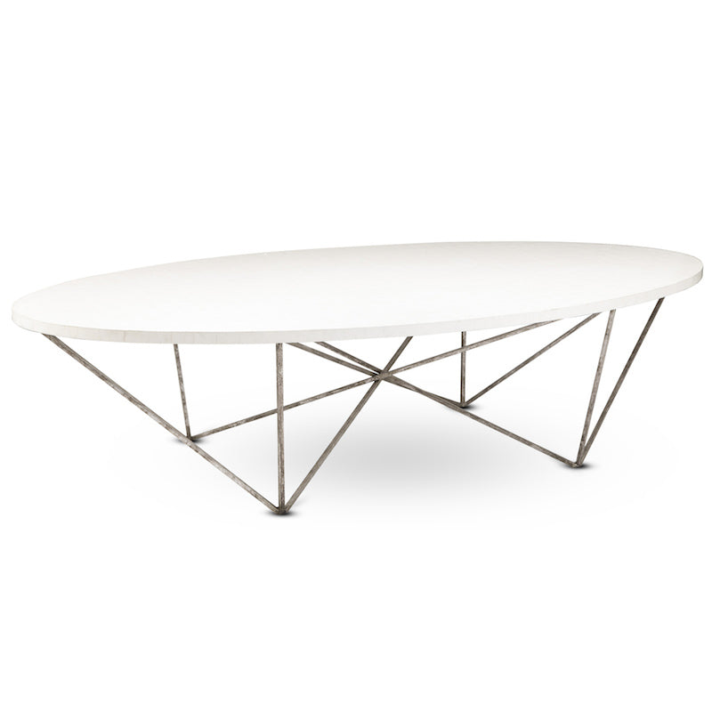 White Shell Oly George Cocktail Table Oval Coffee Table