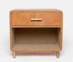 Dante Aged Leather Nightstand with Drawer - Double - Camel