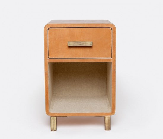 Dante Aged Leather Nightstand with Drawer - Single - Camel